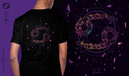 Design de camiseta floral do signo do zodíaco de câncer