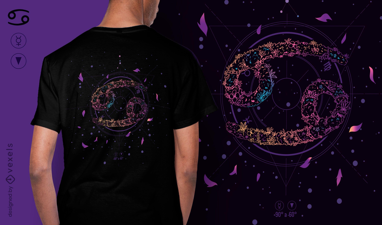 Krebs Blumen Sternzeichen T-Shirt Design