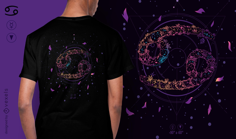Krebs-Blumen-Sternzeichen-T-Shirt-Design