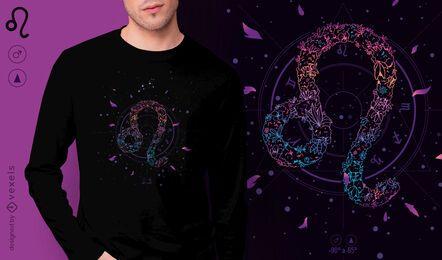 Diseño de camiseta de signo del zodiaco floral Leo
