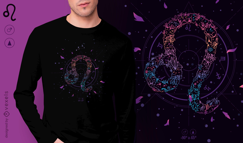 Design floral da t-shirt do signo do zodíaco Leo