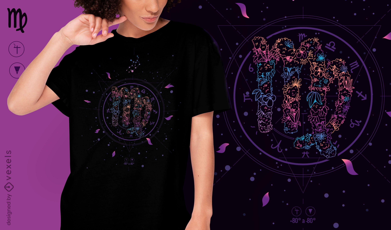 Diseño de camiseta de signo del zodiaco floral de Virgo