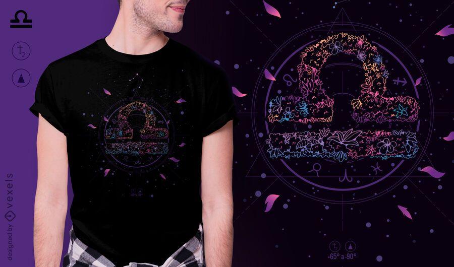 Diseño de camiseta de signo del zodiaco floral de Libra