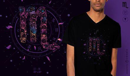 Blumen-Sternzeichen-T-Shirt-Entwurf des Skorpions
