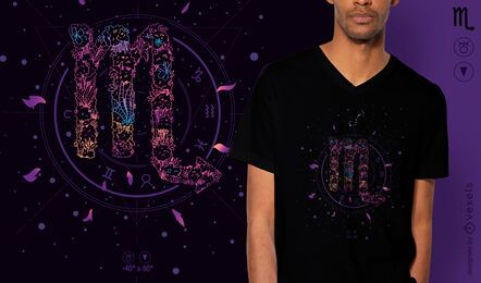 Scorpio floral zodiac sign t-shirt design