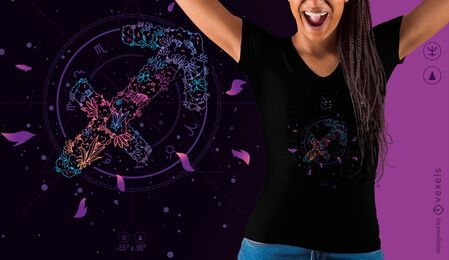 Design floral de t-shirt do signo do zodíaco de Sagitário