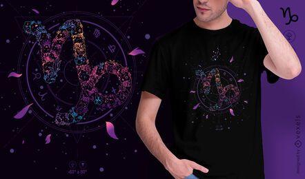 Design floral da camiseta do signo do zodíaco Capricórnio