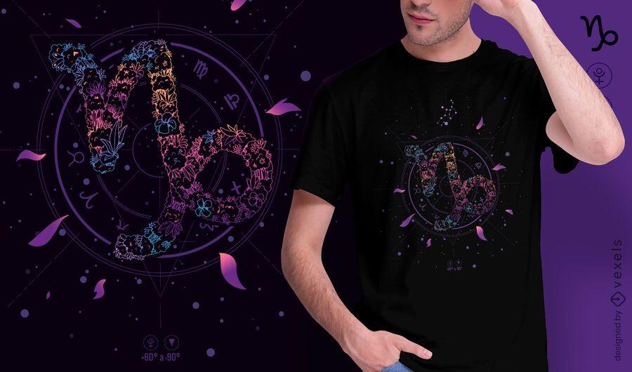 Diseño de camiseta de signo del zodiaco floral de Capricornio