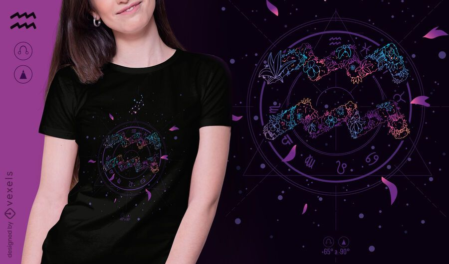 Aquarius floral zodiac sign t-shirt design
