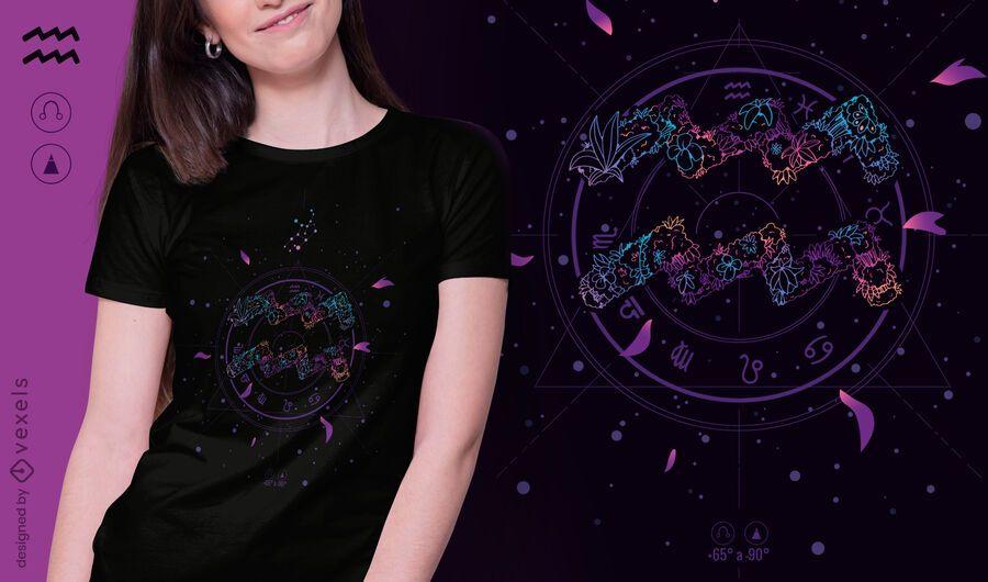 Blumen-Sternzeichen-T-Shirt-Design des Wassermanns
