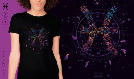 Diseño de camiseta de signo del zodiaco floral de Piscis