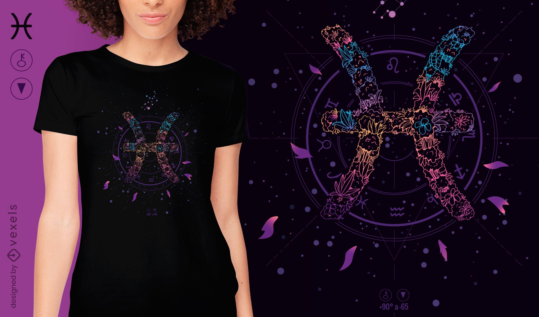 Pisces floral zodiac sign t-shirt design
