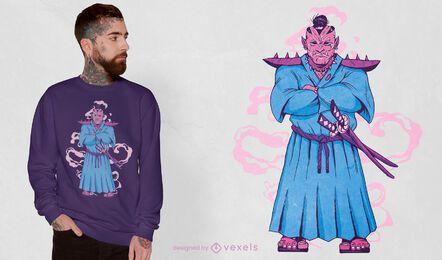 Diseño de camiseta samurai orc