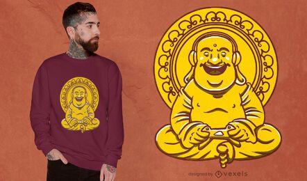 Buddha statue playing videogames t-shirt design