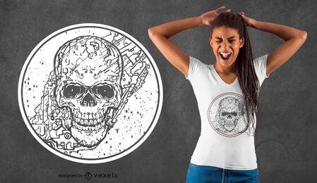 Schädel-Karten-Linienkunst-T-Shirt-Design