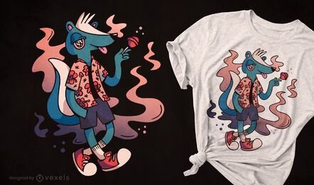 Diseño de camiseta de animal mofeta comiendo dulce