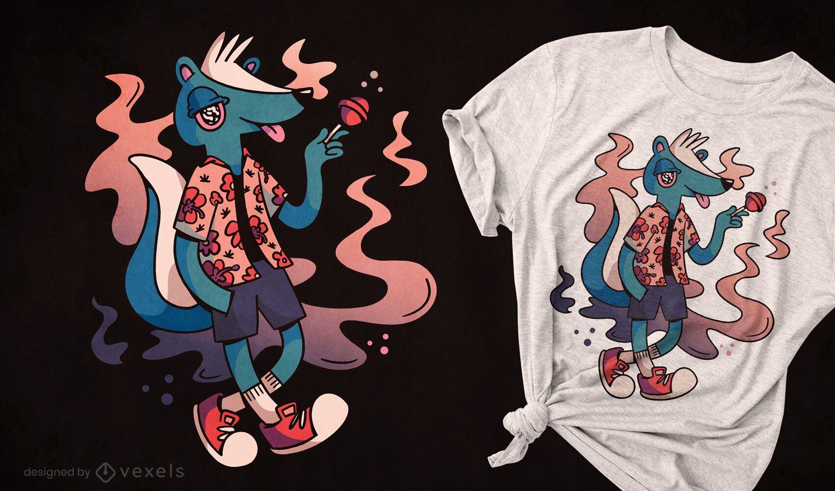 Skunk animal eating sweet t-shirt design