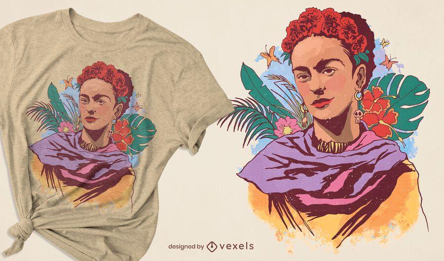 Diseño de camiseta con retrato en color de Frida Kahlo.