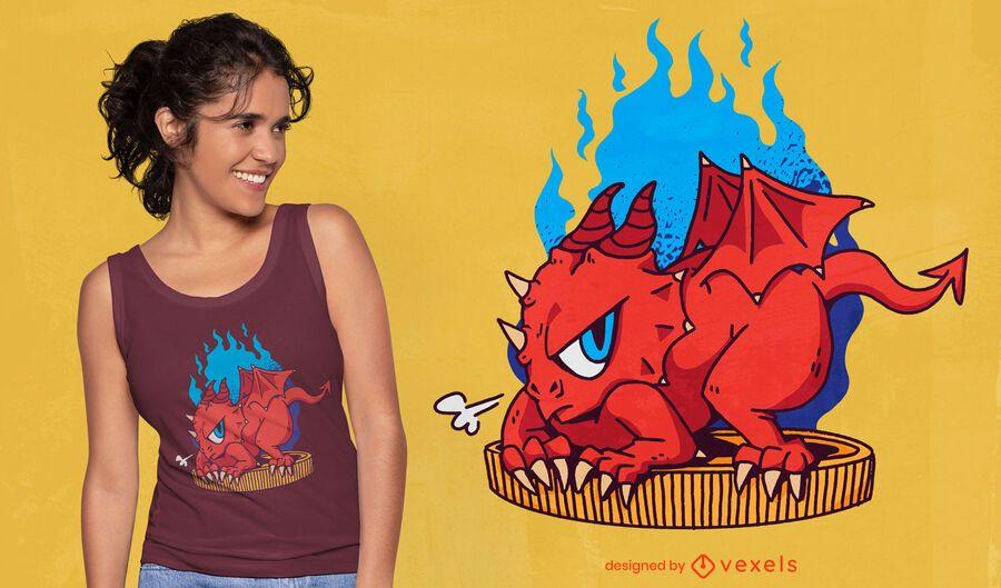 Pequeño dragón con diseño de camiseta de moneda de oro.