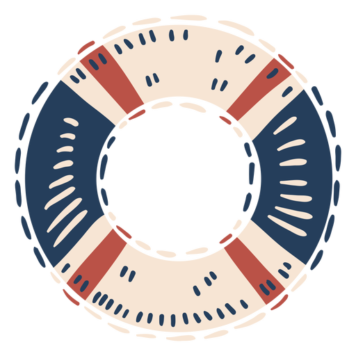 Blue red and white float round label semi flat