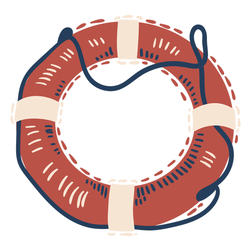 Red blue and white float with rope round label semi flat