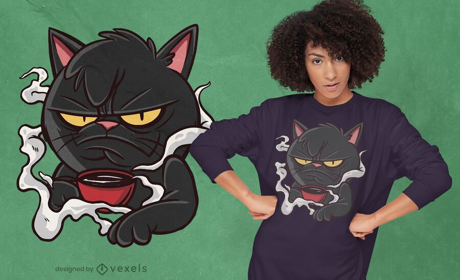 Design de t-shirt de gato mal-humorado
