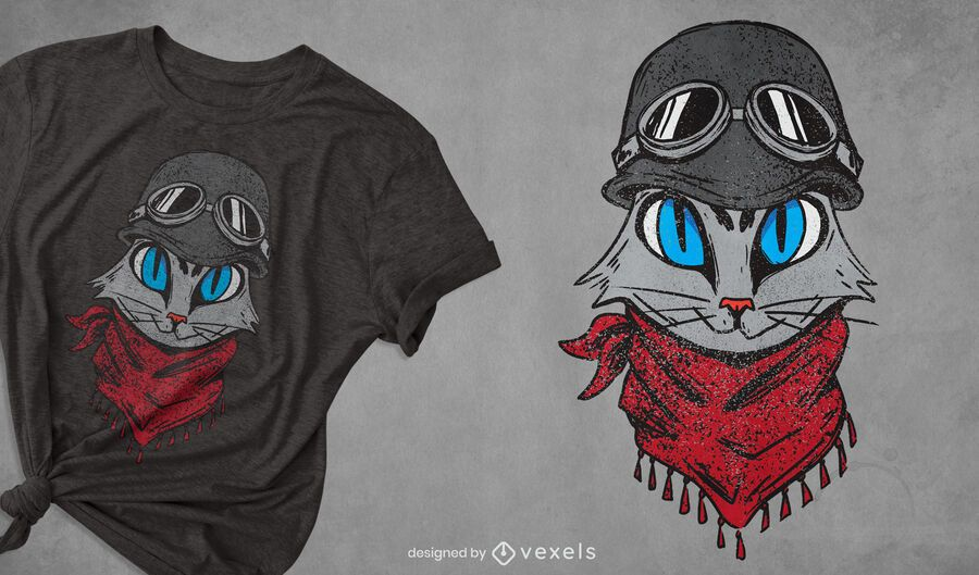 Adventurous cat t-shirt design