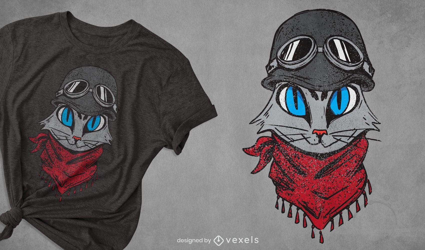 Diseño de camiseta de gato aventurero.