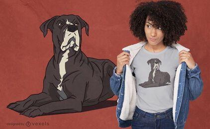 Diseño de camiseta de perro acostado