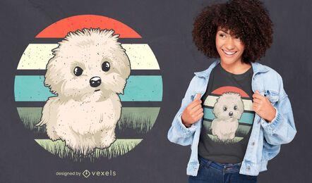 Diseño de camiseta de perro maltés