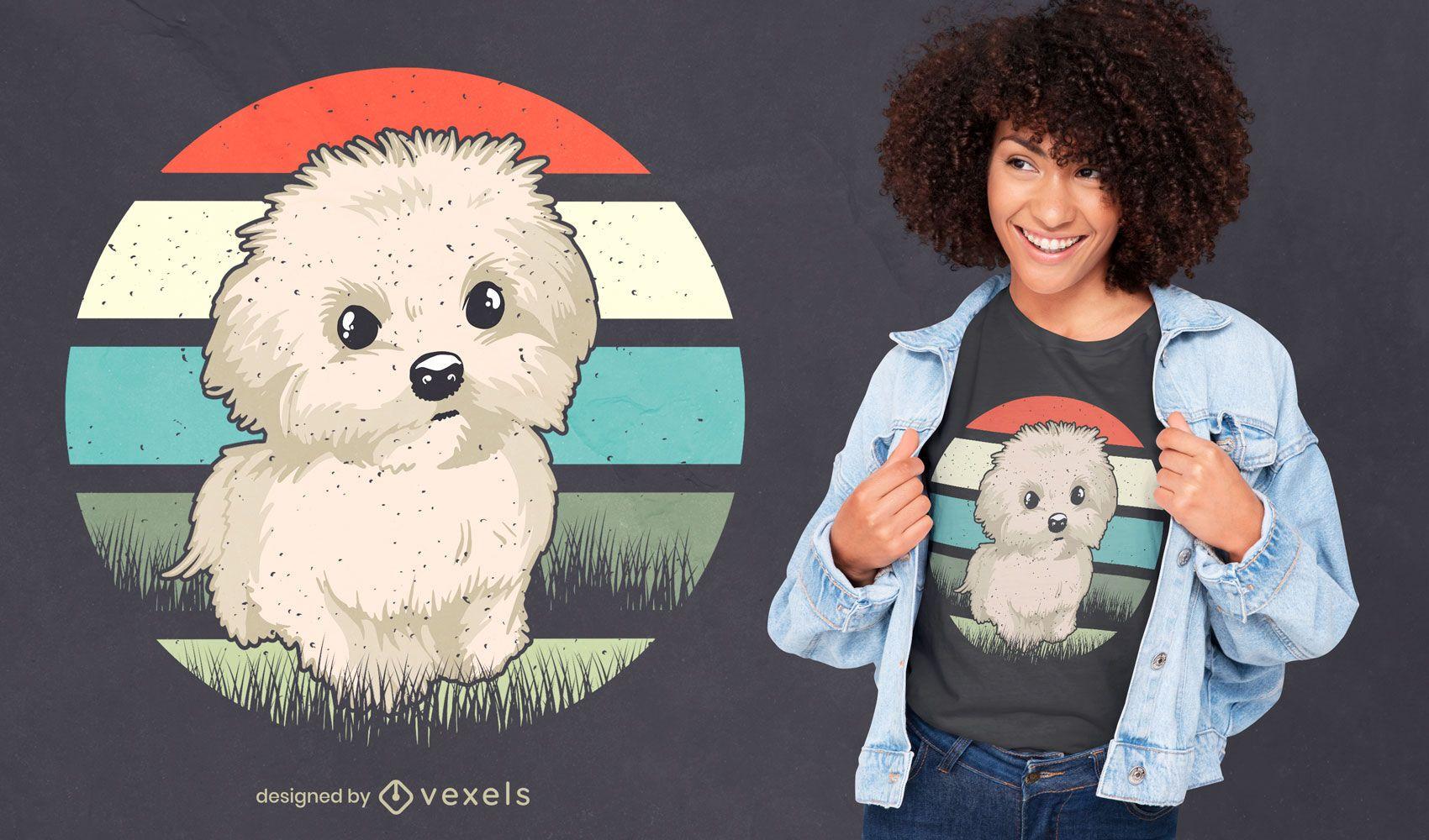Design de t-shirt para cão maltês