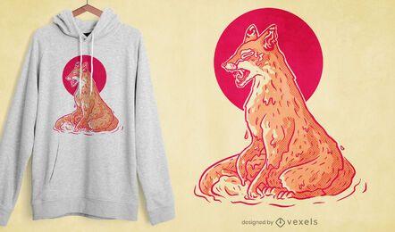 Diseño de camiseta de fusión de zorro
