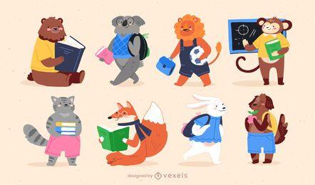 Conjunto lindo de personajes de animales de regreso a la escuela