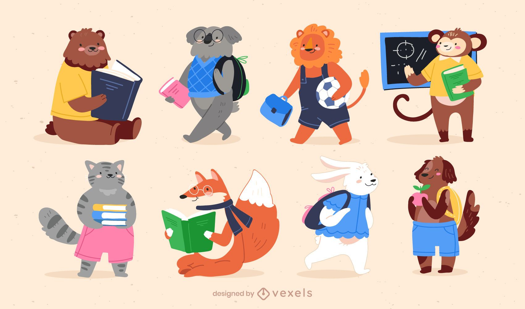 Back to school animal character cute set