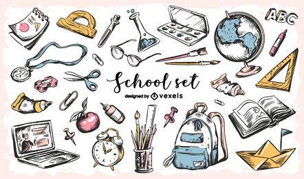 Conjunto de bocetos de educación de regreso a la escuela
