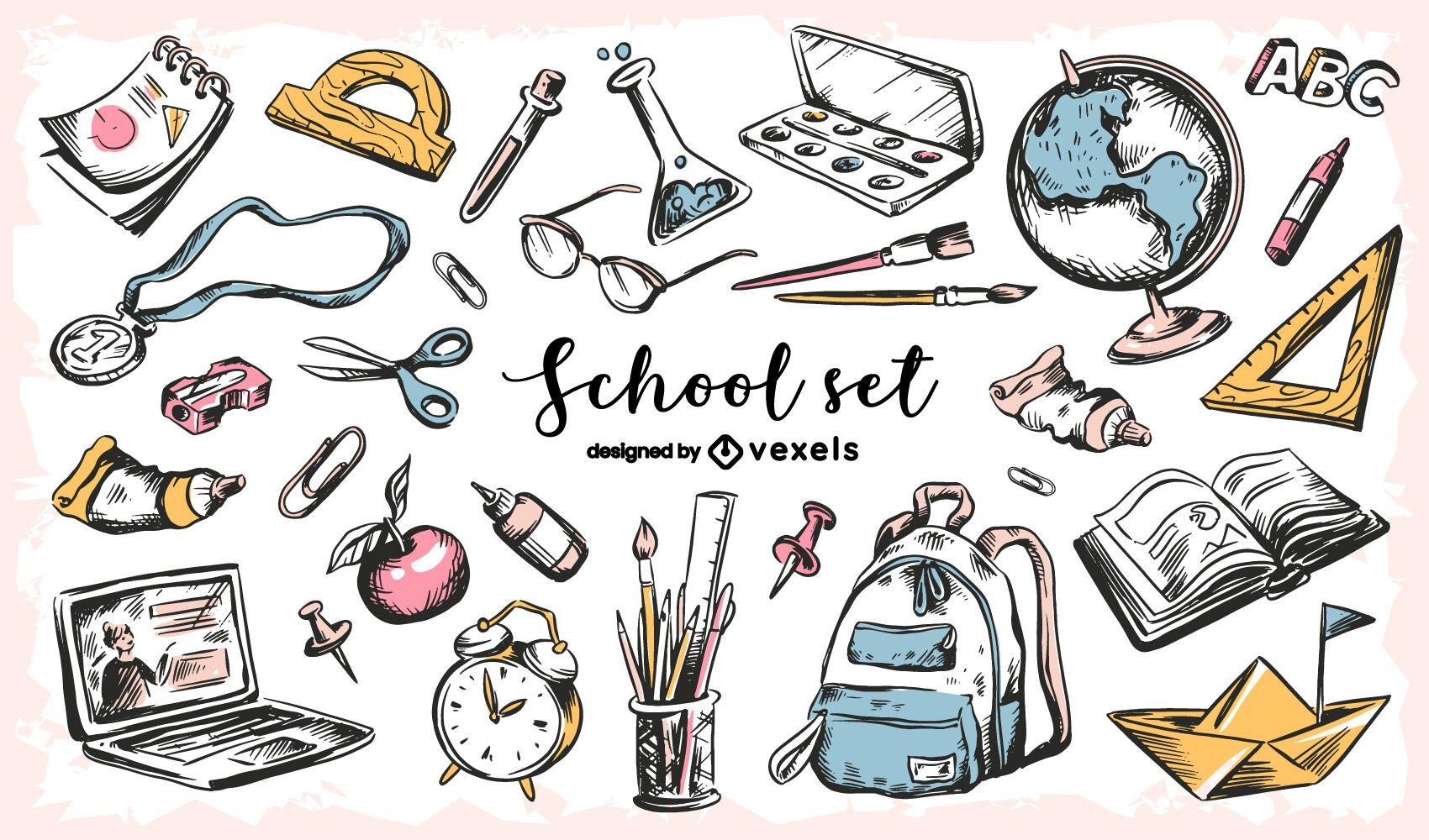 Back to school education sketch set