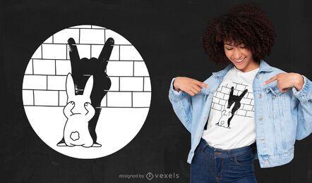 Lustiges Schatten-T-Shirt-Design des Kaninchens