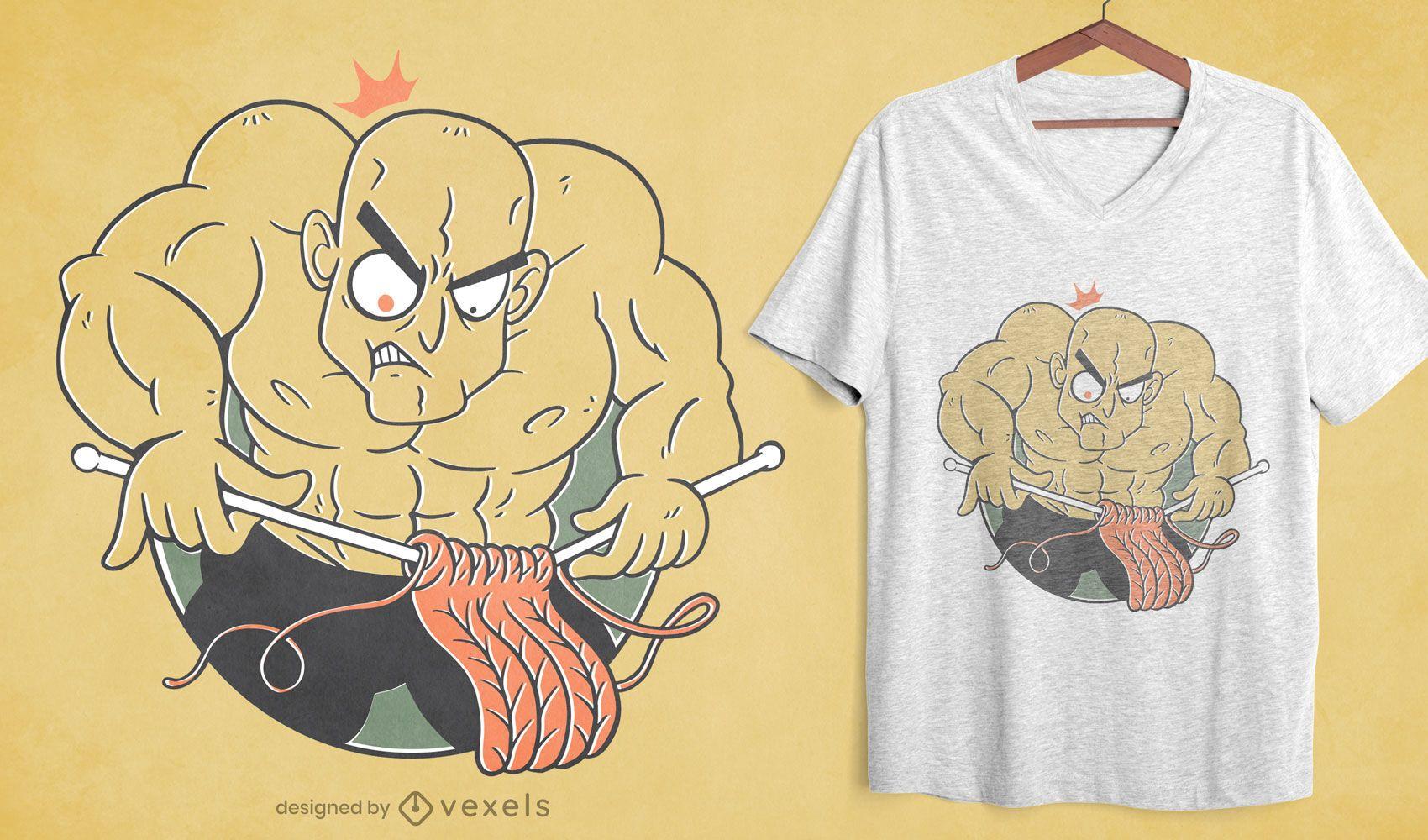 Bodybuilder man knitting t-shirt design
