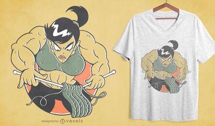 Diseño de camiseta de tejer mujer culturista