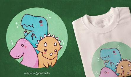 Diseño de camiseta de dinosaurios bebé lindo
