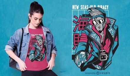 Cyber-Piraten-Charakter-T-Shirt-Design
