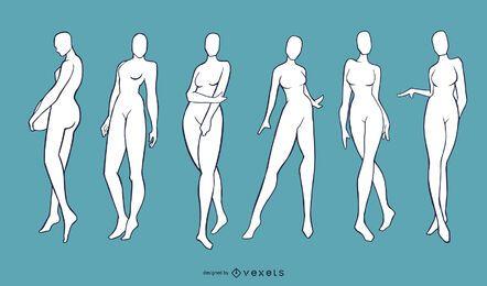 Conjunto de manequins de modelo feminino nude