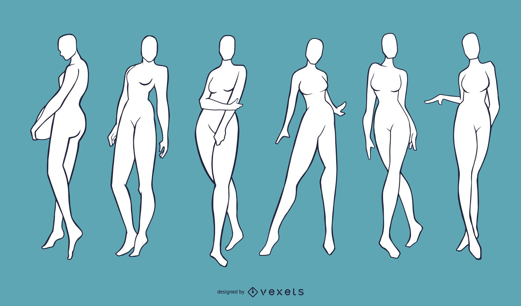 Conjunto de maniquíes modelo femenino desnudo