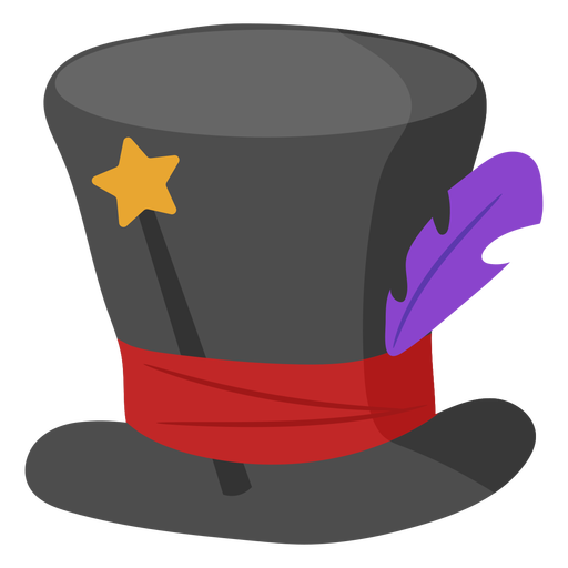 Magic hat with wand and feather