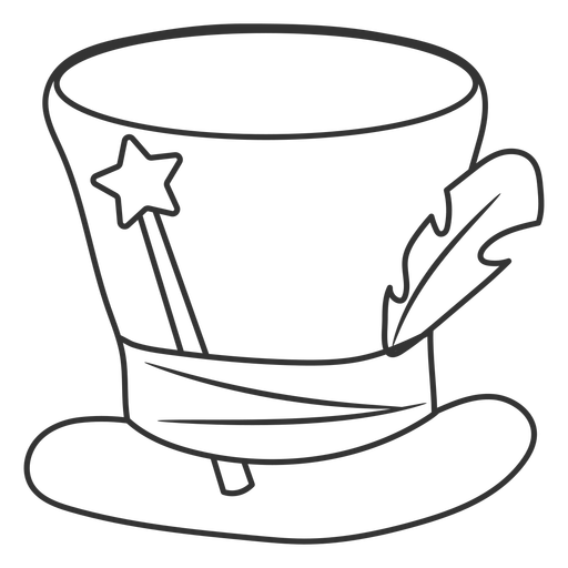 Magician hat and wand stroke