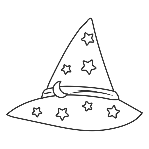 Wizard hat with stars stroke