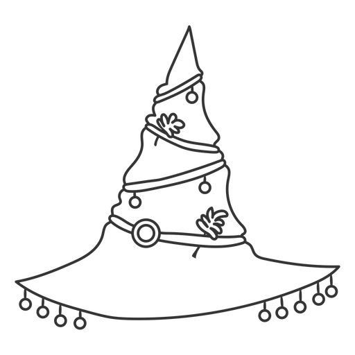 Witch hat with ornaments stroke