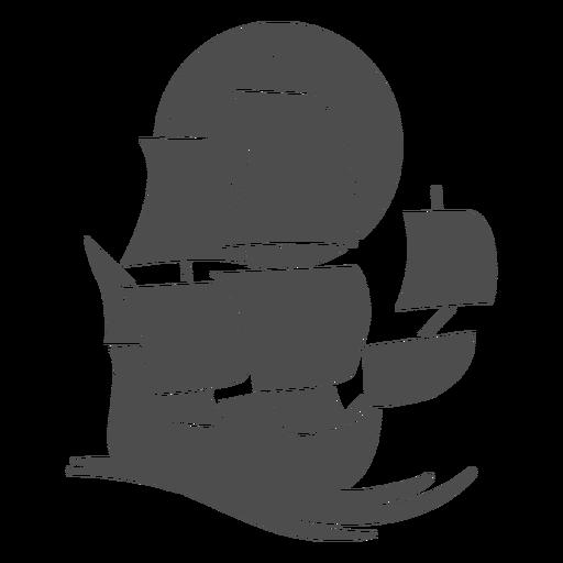 Sailing ship filled stroke
