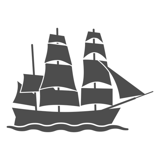 Side sail ship filled stroke
