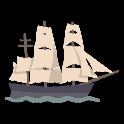 Sailing ship profile semi flat